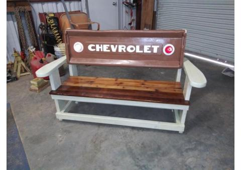 Old Chevrolet tailgate bench